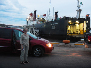 Deb, car and ferry