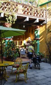 John biking out of Casa de los Abuelos (1 of 1)